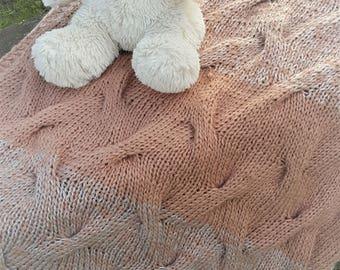 Hand knitted baby blanket / knit baby blanket / Alpaca wool blanket / newborn wool blanket