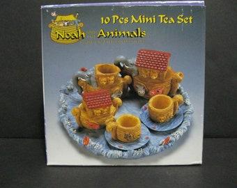 Noah's Ark Miniature Tea Set, Hand Crafted Mini Tea Set, Ten Piece Noah and The Animals Mini Tea Set