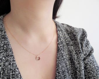 Free shipping! Rose gold initial necklace, dainty disc necklace, initial necklace, personalized monogram necklace