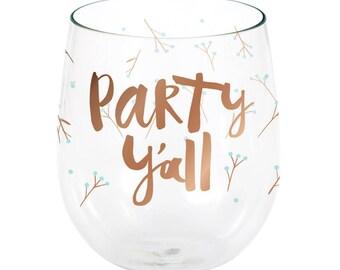 2 CT Party Ya'll Plastic Wine Glasses/ Trendy Party Cups/ Party Ya'll Party Glasses