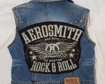 """KIDS Aerosmith """"Bad Boys of Boston"""" Denim rock vest-size 8-9"""