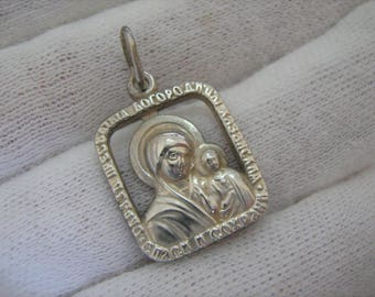 SUPER SALE SOLID 925 Sterling Silver Kazan Icon Small Amulet Protect Pendant Holy Mother of God Saint Mary the Blessed Virgin Jesus Child