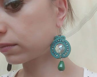 Green earrings soutache
