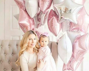 Star Foil Balloons, pretty Pink, White & Silver Star Shape Foils, perfect for a First Birthday or just a Birthday Celebration.