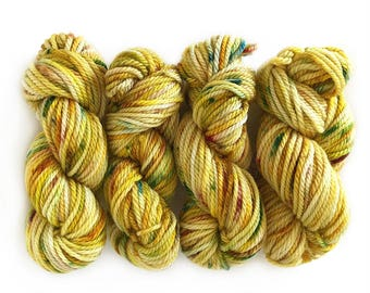 Hand Dyed Yarn - Aran weight merino superwash wool - One Mini Skein (at least 25g each) - AUTUMN