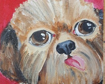 Shih tzu Colorful pet portrait folk art style 6×6 inch painting