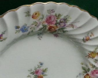 Vintage Marlow Mintons Bone China Made in England Plates / Marlow Minton Floral Plates with Gold Trim
