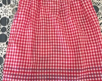 Vintage Red Gingham Apron, Red and White Checkered Apron, Half Apron