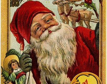 Antique Postcard Merry Christmas Santa with Toys at Window Reindeer in Background 1910