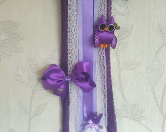 Hand made ribbon Owl hair bow holder and hair clip set