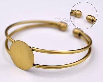 5pcs/Lot Bezel Bracelet Blank-Adjustable Bangle-Blank Bracelet Cuff with 18mm glue pad-Bracelet Tray 18mm Setting-round bezel cuff bracelet