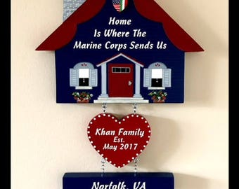 Home is Where the Air Force, Army, Navy, Marines, Coast Guard, Sends Us Wooden Sign