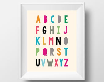 Alphabet Print, Nursery Wall Art, Alphabet Poster, Nursery Decor, Art for Kids Room Decor, Educational Poster, UNFRAMED