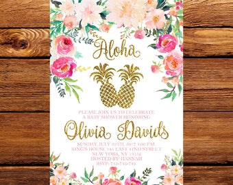 Pineapple Baby Shower Invitation, Tropical Aloha Baby Shower Invitation,Luau Invitation,Hawaiian Invitation,Luau, Watercolor,Baby Shower 208