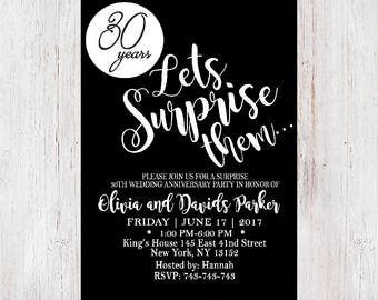 Surprise Anniversary Invitation,Rustic Anniversary Invitation,Anniversary  Party, Surprise Anniversary Party Invitation 13