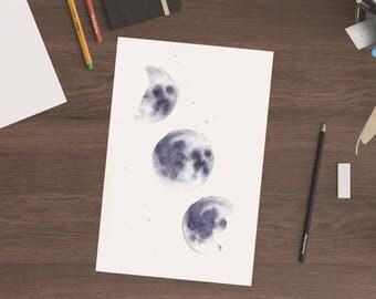 A5 Triple Moons Original Watercolor Painting