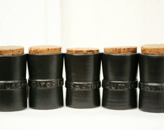 Vintage French herb canisters – French herb jars – herb canisters – rustic French kitchen – French kitchen décor