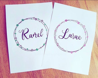 Personalised Embossed Name Wreath