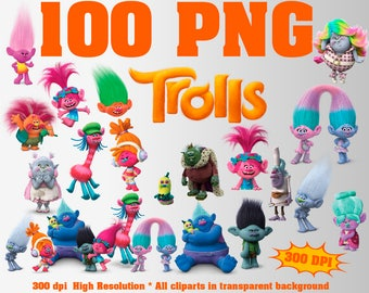 Trolls Clipart | 100 PNG 300 Dpi | Poppy DJ Suki Fuzzbert  Satin & Chenille Diamond Biggie Cooper Creek Peppy Gristle Bridget Prince Gristle