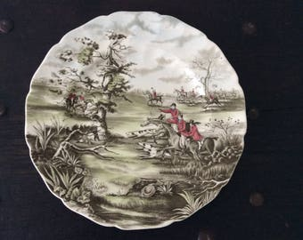 Vintage Johnson Bros Hunting Plate / Accent Plate / Fox Hunting / British Country Scene / England / Country / Farm / Rustic