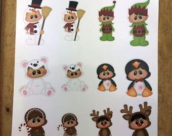 Winter Costumes. Planner Stickers, Erin Condren, Recollections, Happy Planner, Cute Stickers, ECLP, Fun.
