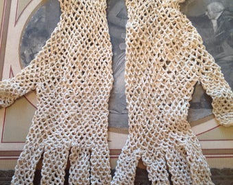 Antique French Lace Filet Gloves Hand Crochet White Cotton Size Small 7 #ArtMakesHappy
