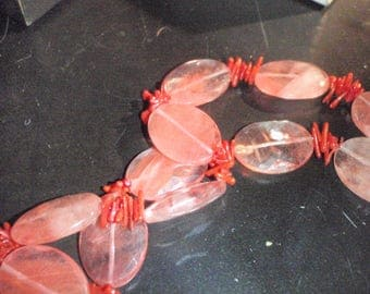 vintage ox blood coral and facetted glass necklace