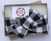 Black and White Check Headwrap, Black and White Check Head Wrap, Lively Mae Bow Co