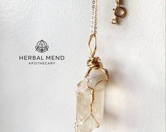 Clear Quartz Crystal  Necklace