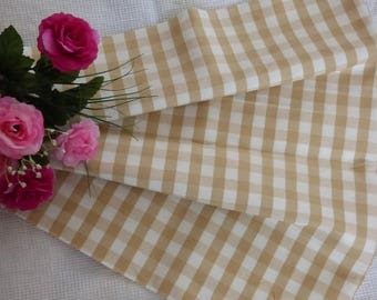 COTTON FABRIC COUPON HAS GREAT COLOR PLAID BEIGE AND WHITE