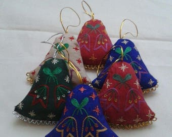 Silk Christmas ornamenrs,Embroidered Christmas ornaments, bell decoration.Bell Christmas ornaments.