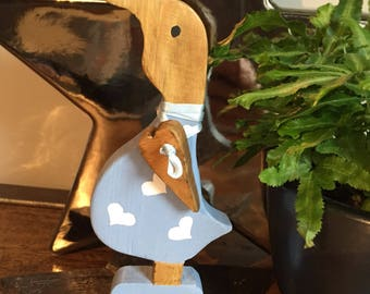 Wooden Duck with boots & wooden hanging heart round neck