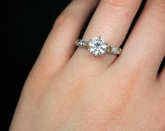 Two-Tone 1.51cts diamond engagement ring