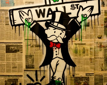 ALEC MONOPOLY WALL - Reprod On Paper Archival210m or Canvas hdprint, Museum Gallery Stretched