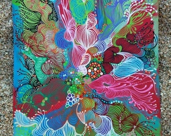 """Decorative painting, intuitive art, abstract painting done with markers posca and acrylic painting titled """"Red""""."""