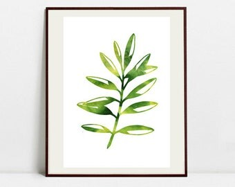 Leaf Art Botanical Print , Leaf Watercolor Painting, Leaf Green Illustration, Digital Download Art Print