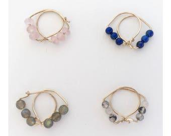Labradorite beaded hoops - Semiprecious beaded hoop earrings - labradorite earrings - gold/rosegold/silver - hoops