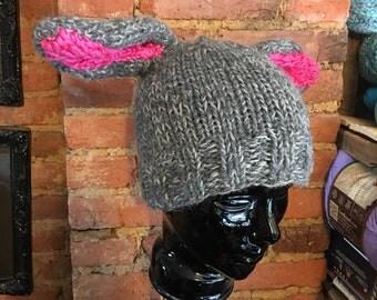 Hand knit chunky beanie with Bunny Ears!
