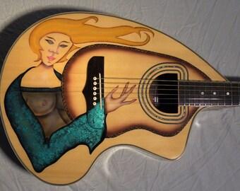 "Custom Painted Craviola ""GIGI"" Acoustic Electric Guitar Graphic"