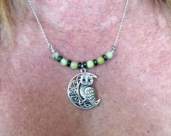 Owl on Crescent Moon with yellow Turquoise