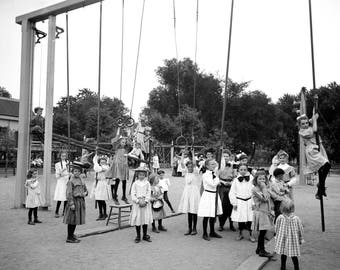 "1905 Girls on Playground, St Paul, Minnesota Vintage Photograph 8.5"" x 11"" Reprint"