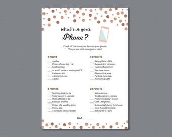 What's in your Phone Game Printable, Rose Gold Confetti, Whats on Your Phone, Bridal Shower Games Download, Wedding Shower Activity, A008