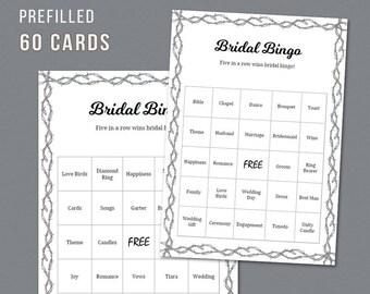 Barb Wire Bridal Shower Bingo, Unique Prefilled 60 Cards Printable, Barbed Fence, Bridal Shower Games, Bachelorette Bingo, Wedding, A023