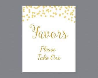 Favors Please Take One Sign Printable, Gold Glitter Confetti Thank You Sign, Bridal Shower Sign, Wedding Favor Sign, Party Decorations, A002