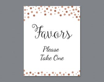 Favors Please Take One Sign Printable, Rose Gold Confetti Thank You Sign, Bridal Shower Sign, Wedding Favor Sign, Party Decorations, A008