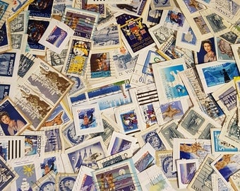 100 Shades of Blue postage stamps, Canadaian Vintage Stamp Lot, vintage stamps, on paper used stamps, decoupage, collage, ephemera (e583)