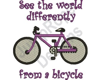 See The World Bicycle - Machine Embroidery Design