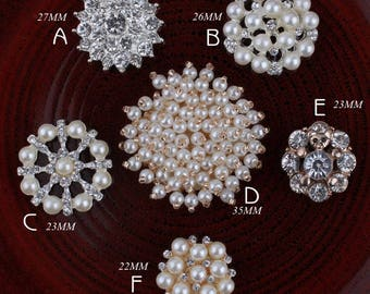 Bling Hot Fix Metal Pearl Buttons for Hair Accessories Alloy Crystal Flatback Rhinestone Buttons for Wedding Ornaments Flower center