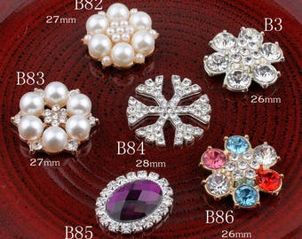 Vintage Snow/round/oval Metal Rhinestone Buttons Bling Flatback Flower Centre Crystal Buttons for Hair accessories