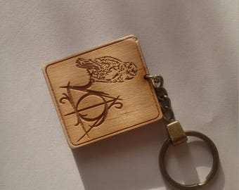 Key chain Engraved Key chain Personalized Keychain Wood Keyring Key Ring Gift For Friends Gift For Sweetheart Harry Potter Keychain